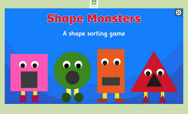 Each Shape Monster Only 'Eats' Shapes Which Match Its Own Body Shape